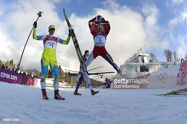 Gold winner Norway's Maiken Caspersen Falla jumps in the air along side bronze medalist Slovenia's Vesna Fabjan after competing in the Women's...