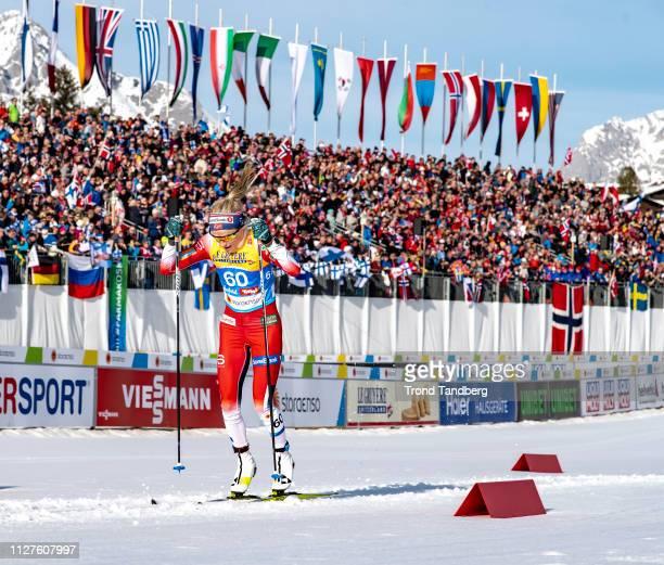 Gold Winner Therese Johaug of Norway during FIS Nordic World Ski Championship Cross Country Ladies 100 km Interval Start Classic at Seefeld / Tirol...