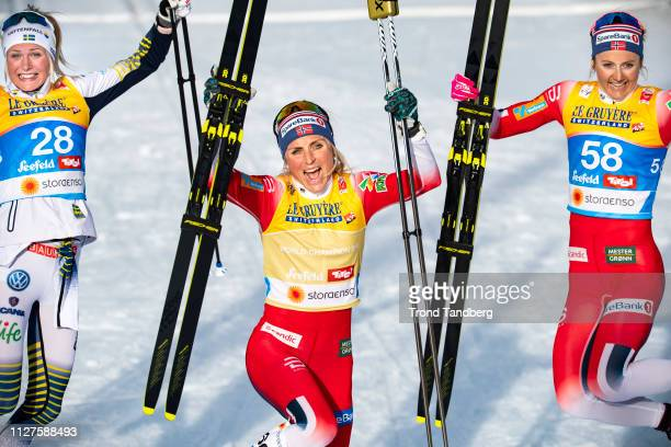 Gold Winner Therese Johaug of Norway Silver Winner Frida Karlsson of Sweden Ingvild Flugstad Oestberg of Norway celebrates after during FIS Nordic...