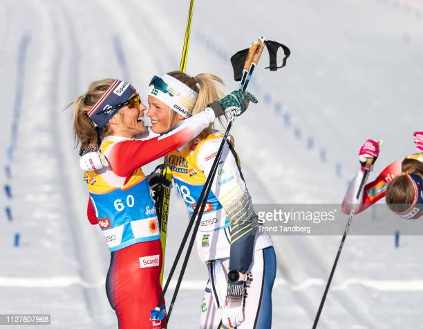 Gold Winner Therese Johaug of Norway Silver Winner Frida Karlsson of Sweden Bronze Winner Ingvild Flugstad Oestberg of Norway celebrates after during...