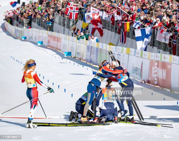 Gold Winners Ebba Andersson Frida Karlsson Charlotte Kalla Stina Nilsson of Sweden Silver Winner Therese Johaug Ingvild Flugstad Oestberg of Norway...