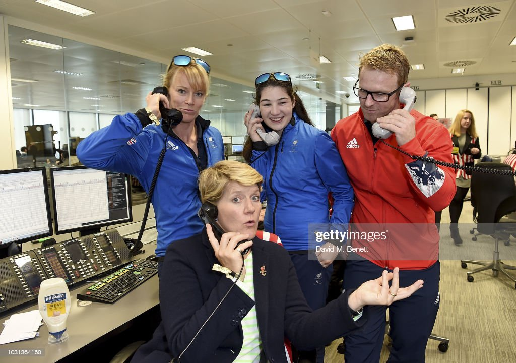 Gold Winter Paralympians Jen Kehoe, Menna Fitzpatrick and Jody Cundy OBE representing Paralympics GB pose with Clare Balding representing the Paralympics GB team during BGC Charity Day at One Churchill Place on September 11, 2018 in London, England.