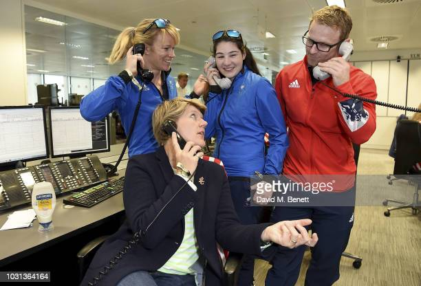 Gold Winter Paralympians Jen Kehoe Menna Fitzpatrick and Jody Cundy OBE representing Paralympics GB pose with Clare Balding representing the...