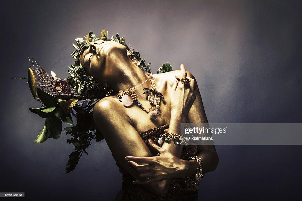 Gold Woman : Stock Photo