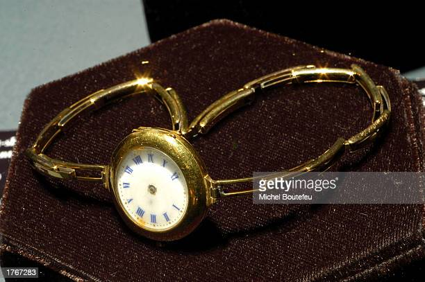 A gold wristwatch from the Titanic is on display at 'TITANIC The Artifact Exhibit' at the California Science Center on February 6 2003 in Los Angeles...