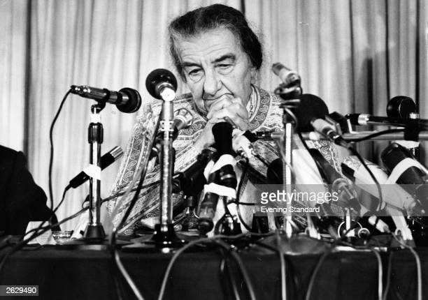 Golda Meir Israeli prime minister at a press conference Original Publication People Disc HN0313