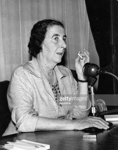 Golda Meir nee Mabovich Israeli politician at a press conference at the Israeli Embassy in London She is over for a meeting with Selwyn Lloyd the...