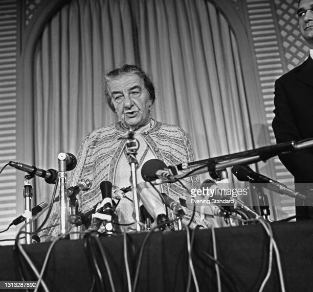 Golda Meir , Prime Minister of Israel, speaking at a press conference at the Churchill Hotel in London, during the Socialist International meeting,...