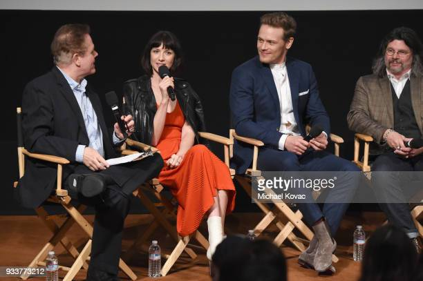 GoldDerby President Tom O'Neil Caitriona Balfe Sam Heughan and Ronald D Moore speak on stage at the STARZ Outlander FYC Event at Linwood Dunn Theater...