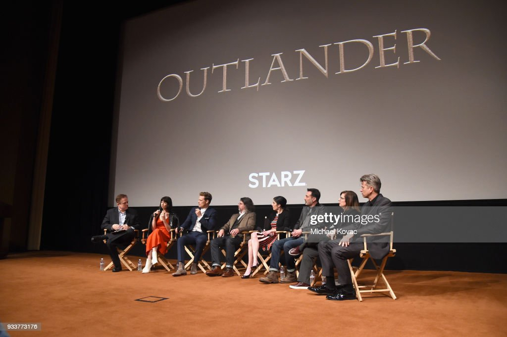 GoldDerby President Tom O'Neil, Caitriona Balfe, Sam Heughan, Ronald D. Moore, Maril Davis, Matthew B. Roberts, Toni Graphia and Jon Gary Steele speak on stage at the STARZ Outlander FYC Event at Linwood Dunn Theater on March 18, 2018 in Los Angeles, California.