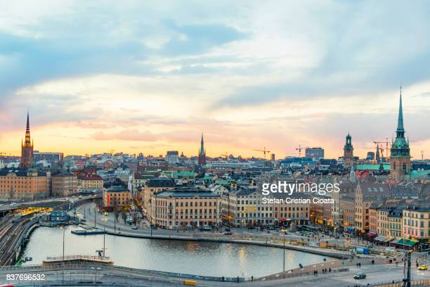 golden afternoon in stockholm - stockholm stock pictures, royalty-free photos & images