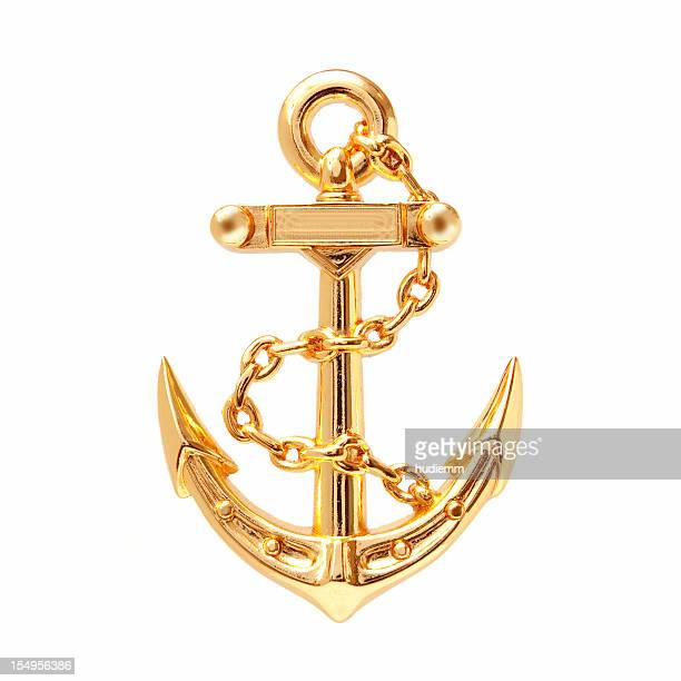 golden anchor (clipping path) isolated on white background - gold chain necklace stock pictures, royalty-free photos & images