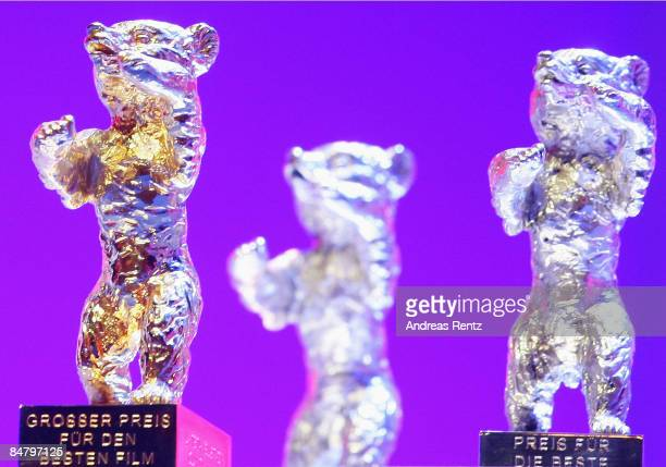 Golden and Silver Bear Awards are seen on the podium during the Awards Ceremony as part of the 59th Berlin Film Festival at the Berlinale Palast on...
