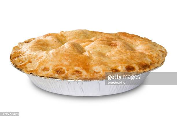 Golden apple pie in an aluminum tin on a white background