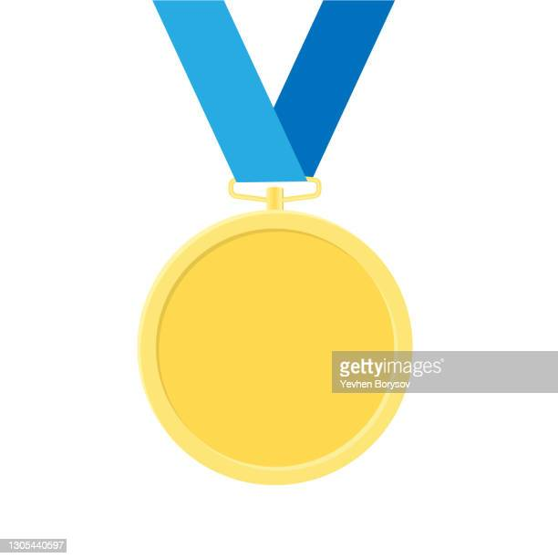 golden award medal with ribbons for winners - medallion stock pictures, royalty-free photos & images