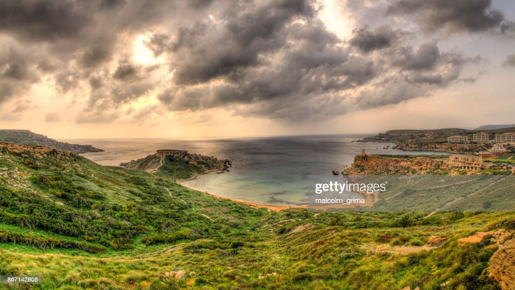 Golden Bay on a cloudy day in Malta : Stock Photo