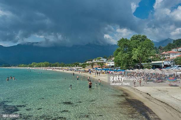 golden beach, thassos - thasos stock photos and pictures