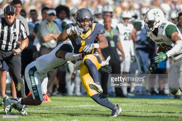 Golden Bears Wide Receiver Melquise Stovall in the round 1 of the NCAA College Football Sydney Cup game between Hawaii Rainbow Warriors and...