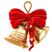 Golden bells and red bow for Christmas