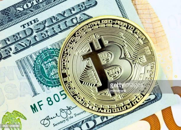 Golden Bitcoin. Electronic money exchange concept