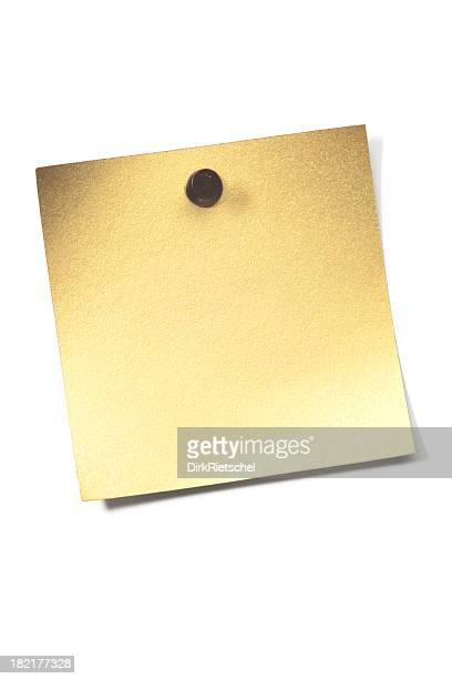 golden blank note. - bulletin board flyer stock pictures, royalty-free photos & images