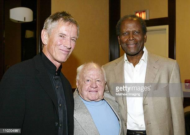 Golden Boot Award recipient Scott Glenn stands backstage with Mickey Rooney and presenter Sidney Poitier