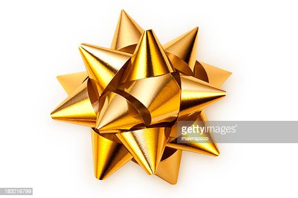 golden bow - tied bow stock pictures, royalty-free photos & images