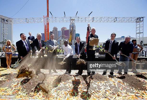Golden Boy Promotions CEO Richard Schaefer Clark County Commissioner Steve Sisolak MGM Resorts International Chairman and CEO Jim Murren WBC...