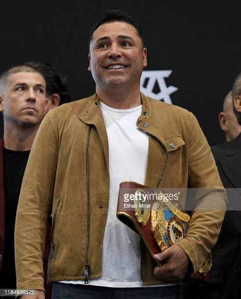 Golden Boy Promotions Chairman and CEO Oscar De La Hoya attends the official weigh-in for Canelo Alvarez and WBO light heavyweight champion Sergey...