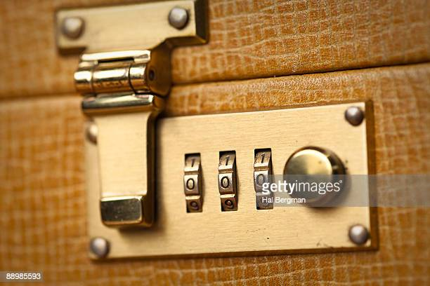 Golden Briefcase Lock Close Up