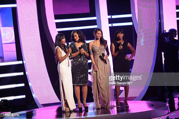 Golden Brooks Tracee Ellis Ross Persia White and Jill Marie Jones speak onstage during the BET Black Girls Rock show at New Jersey Performing Arts...