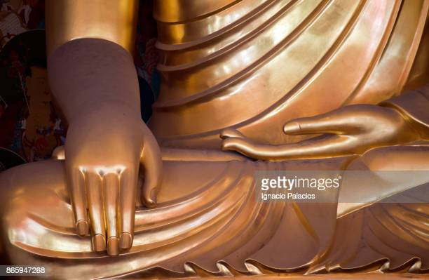 Golden Buddha detail at Jogyesa Temple in Seoul, South Korea