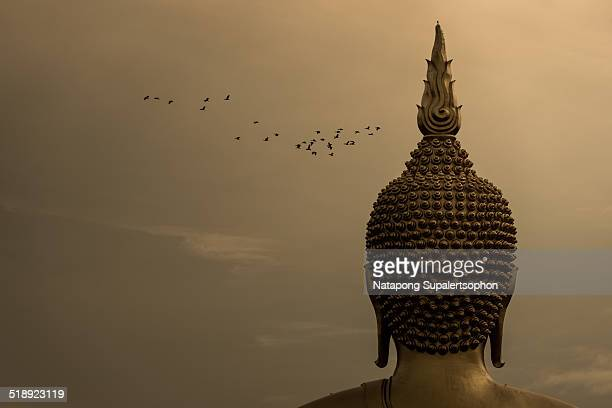 Golden Buddha Image Head with Crowd of Birds