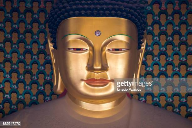 Golden Buddha portrait at Jogyesa Temple in Seoul, South Korea