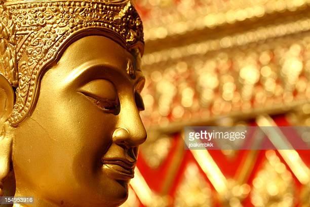 Golden Buddha sculpture in a temple