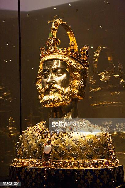 Golden Bust Of Charlemagne On Display In The Domschatzkammer The Treasury Of Aachen Cathedral Aachen Germany