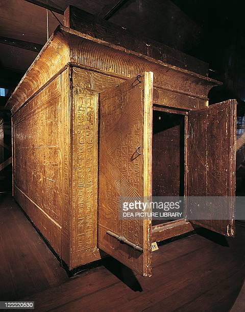 Golden cabinet from the third chapel of the tomb of Pharaoh Tutankhamun eighteenth dynasty