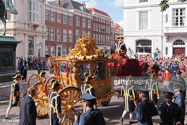 Golden Carriage arriving at Noordeinde Palace in The Hague