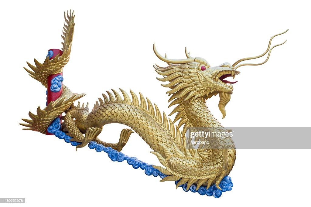 Dragão chinês dourado isolado no fundo branco. : Foto de stock