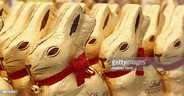 Golden chocolate easter bunny's are pictured on March 30, 2010 in Berlin, Germany. Easter is among the main religious holidays in Germany.