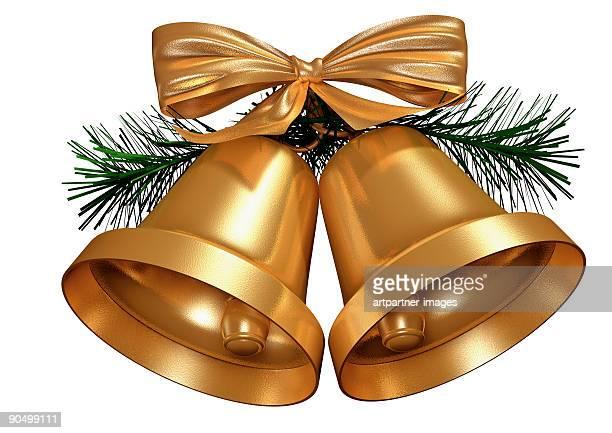golden christmas bells on white background - glocke stock-fotos und bilder