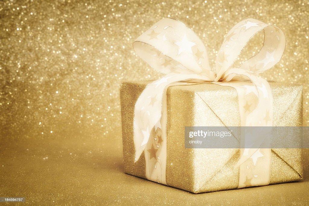 Golden Christmas Gift Box : Stock Photo