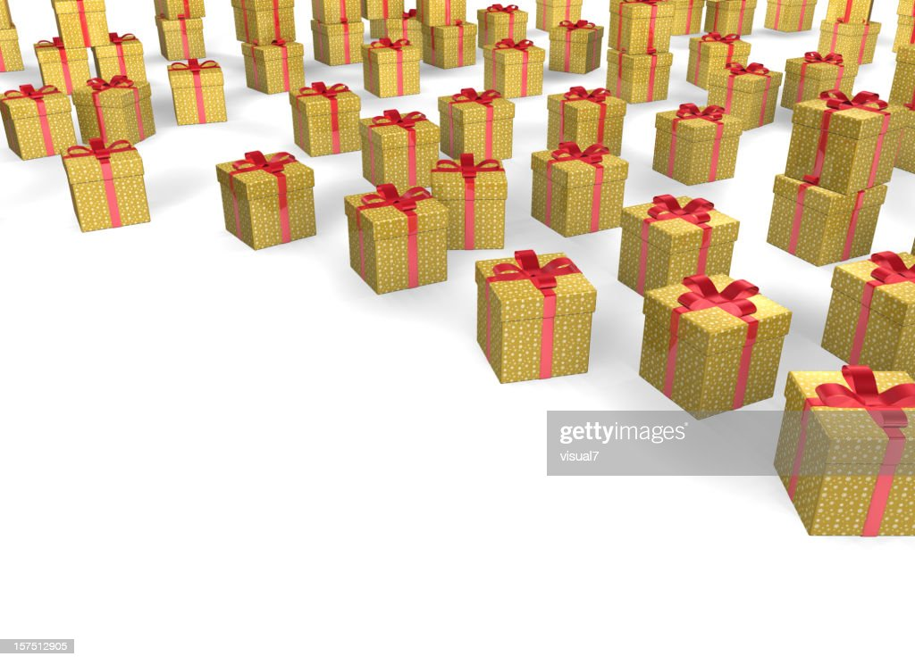 golden Christmas Presents with Bow : Stock Photo