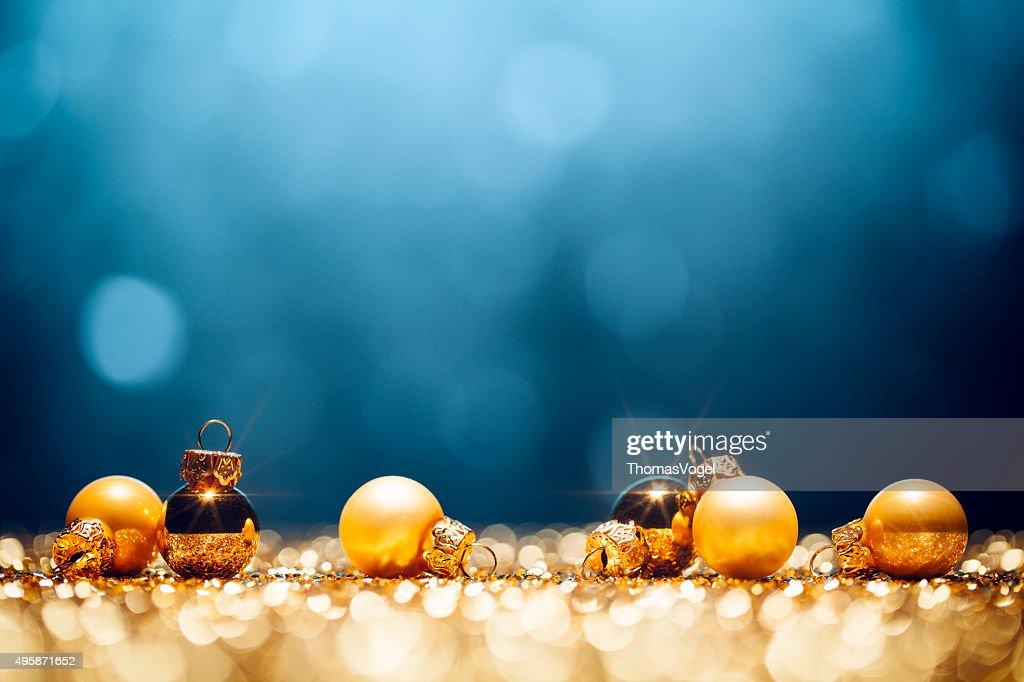 Golden Christmas Time - Decorations Lights Bokeh Defocused Blue Gold : Stock Photo