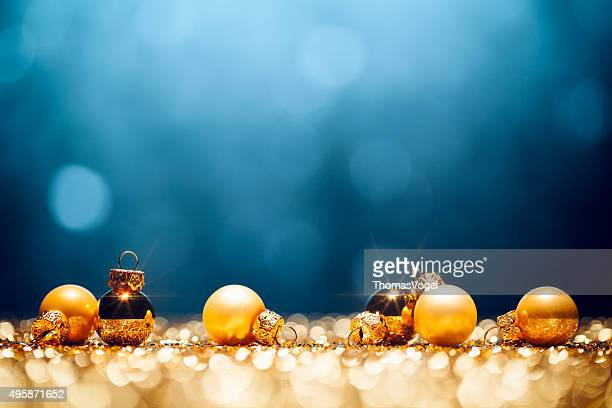Golden Christmas Time - Decorations Lights Bokeh Defocused Blue Gold