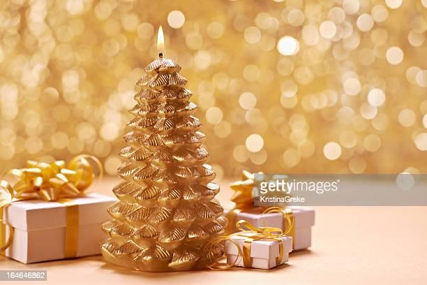 Árvore de Natal dourada Vela
