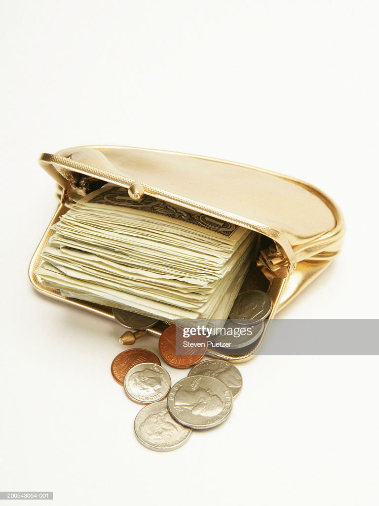 Golden Coin Purse With Usa Bills And Coins