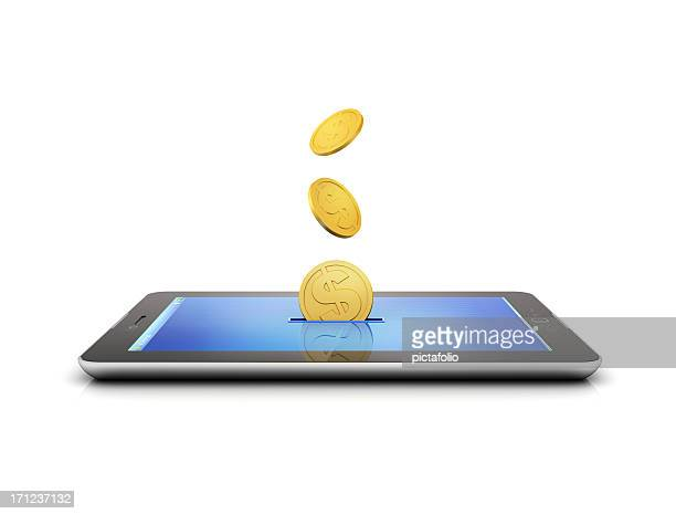 Golden coins flying out of a slit in a tablet