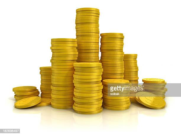 golden coins on white