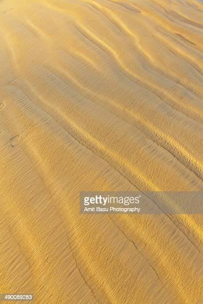 Golden color beach sand at sunset. Goa, India